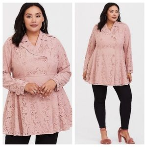 Torrid pink laced trench coat NWT